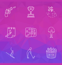 entertainment icons line style set with golf vector image
