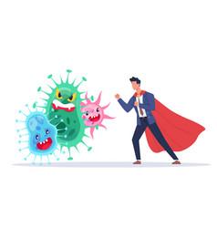 Fight against viruses countering viruses man in vector
