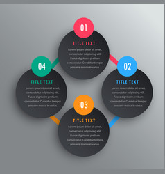 four steps infographic chart design in dark theme vector image