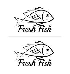 fresh fish logo symbol sign black colored set 10 vector image