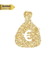 Gold glitter icon of money bag isolated on vector
