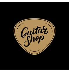 Golden Guitar shop hand written lettering logo vector
