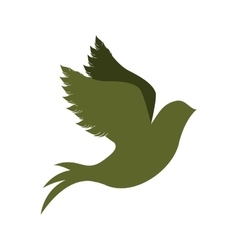 green silhouette of pigeon start to fly vector image