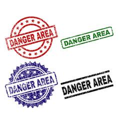 Grunge textured danger area stamp seals vector