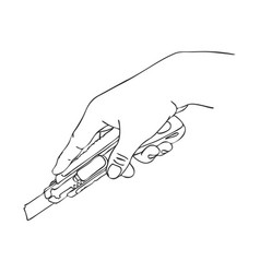 Hand with cutter knife vector