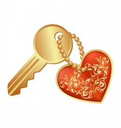 heart and key vector image