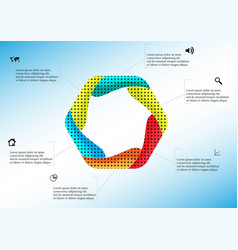 hexagon infographic template created six curved vector image