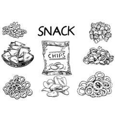 Ink hand drawn sketch style snack set vector