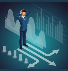 isometric male businessman standing at the vector image