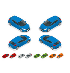 Isometric sportcar or hatchback vehicle suv car vector