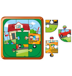 Jigsaw puzzle game with kids on schoolbus vector
