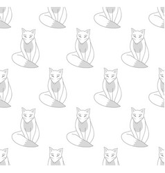 Kitsune fox on white background vector