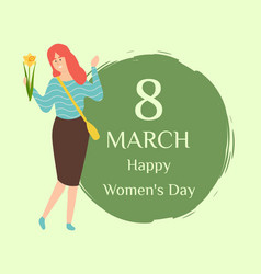 Love spring 8 march lady day and redhead woman vector