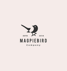 Magpie bird logo hipster retro vintage icon vector