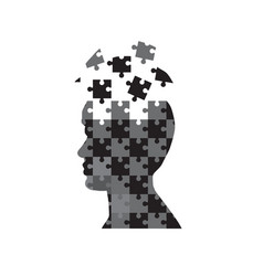 Man head puzzle vector
