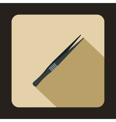 Metallic tweezers icon flat style vector
