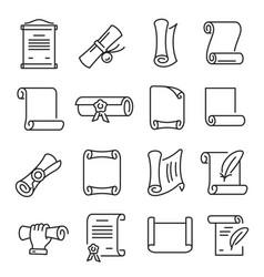 paper scrolls icon set document education symbol vector image