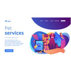 pet services concept landing page vector image