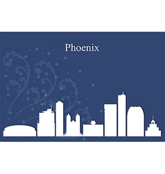 Phoenix city skyline on blue background vector