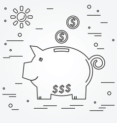 Piggy bank think line icon vector image