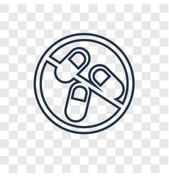 Pills concept linear icon isolated on transparent vector