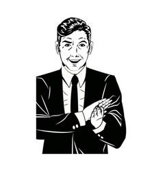 Pop art man suit applauding hands black and vector