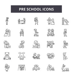 pre school line icons signs set outline vector image