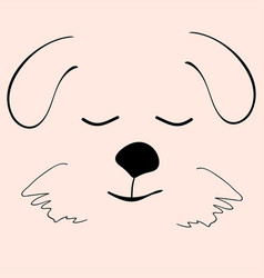 puppy sleep cute funny cartoon dog head vector image