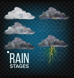 Rain stages cloud storm weather icon vector