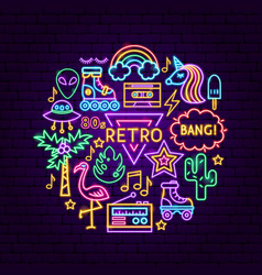 Retro style neon concept vector