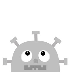 Robot head face looking up screw nose clock heart vector