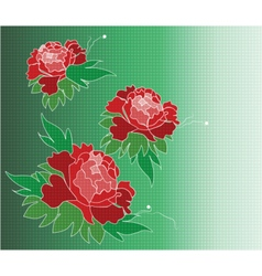 Roses composition in mosaic texture background vector