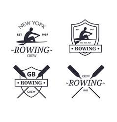Rowing team logo emblem rowing crew vector