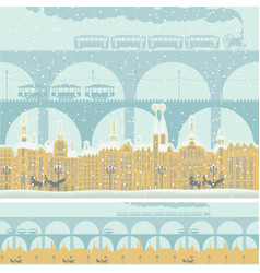 seamless ornament with old winter town and bridges vector image