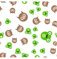 seamless pattern of the head of a frog and owl vector image