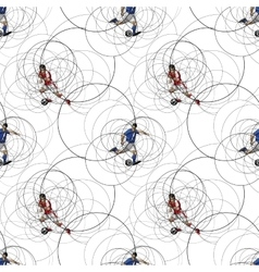 Seamless pattern with soccer players vector image