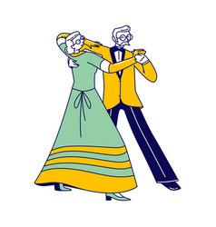 senior couple characters dancing waltz or tango vector image