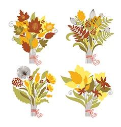 Set autumnal bouquets vector