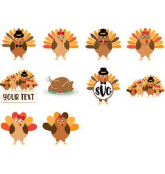 set cartoon turkey cartoon turkey monogram vector image