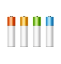 Set of Alkaline AA Batteries Diffrent Color vector