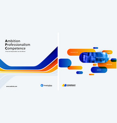 Set of blue orange abstract design for vector