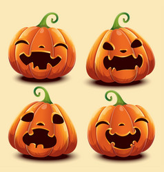 Set of cute realistic pumpkins with different vector