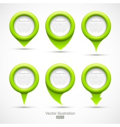 Set of green circle pointers vector image