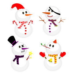 set of winter snowman collection of snowmen in vector image