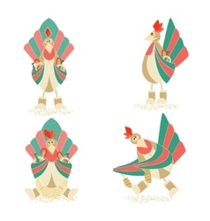 Set with Four Christmas Cockerels vector