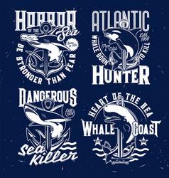 Shark whale fish nautical marine t-shirt prints vector