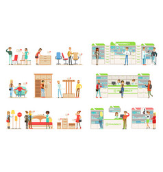 Shoppers choosing and buying furniture in shop vector