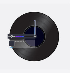 simple black record icon with media player vector image