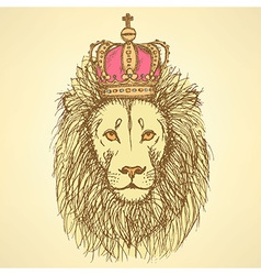 Sketch cute lion with crown in vintage style vector image