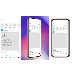Social media mockup design mobile app vector
